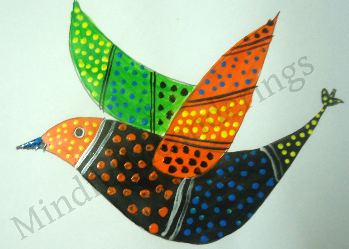 Exploring india folk and tribal art gond painting step by for Folk art craft paint