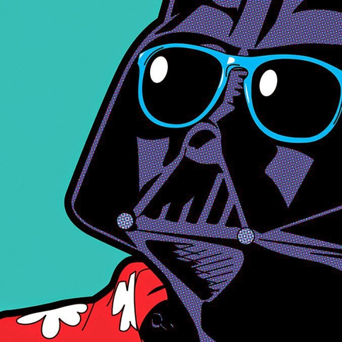 ilustración de super héroes cultura pop  Darth Vader