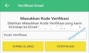 Memasukkan kode verifikasi yang di terima lewat Email
