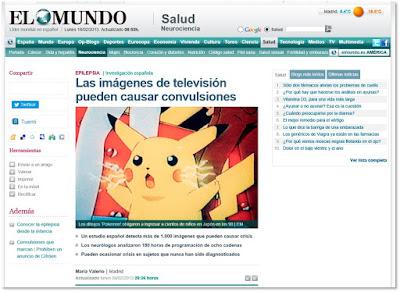 Pantallazo de la noticia de El Mundo: Las imágenes de televisión pueden causar convulsiones