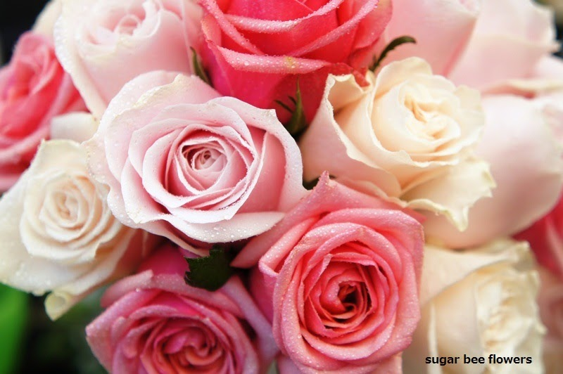 Sugar Bee Flowers: Mixed Pink And Cream Bouquet