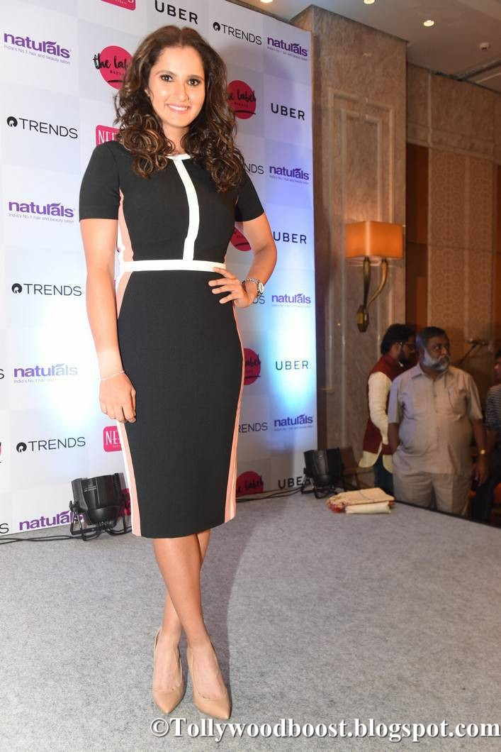 Sania Mirza Stills At The Label Bazaar Launch In Mini Black Dress