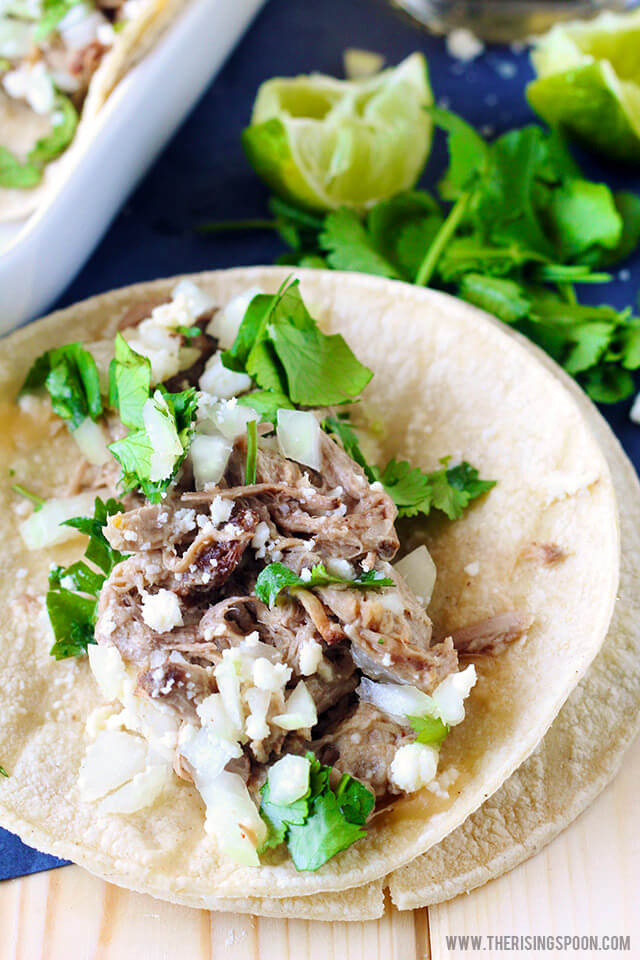 Pork Carnitas Tacos with Slow Cooker Pork Shoulder