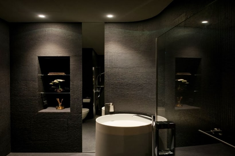 Small black bathroom in Minimalist modern apartment in Moscow