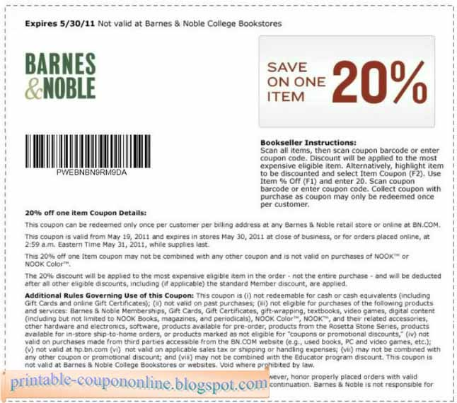 Barnes noble coupon code