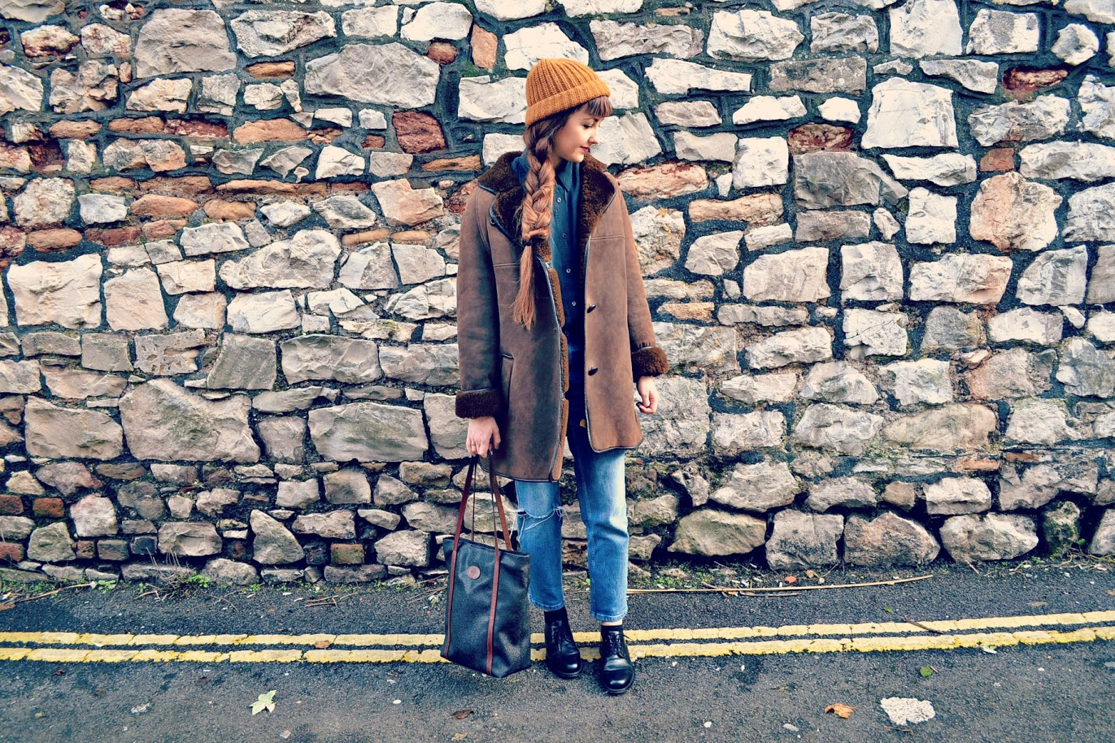 vintage looks, vintage style, sheepskin coat