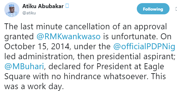 See how Saraki, Atiku react to FG's refusal to allow Kwankwaso use Eagles Square for his presidential declaration