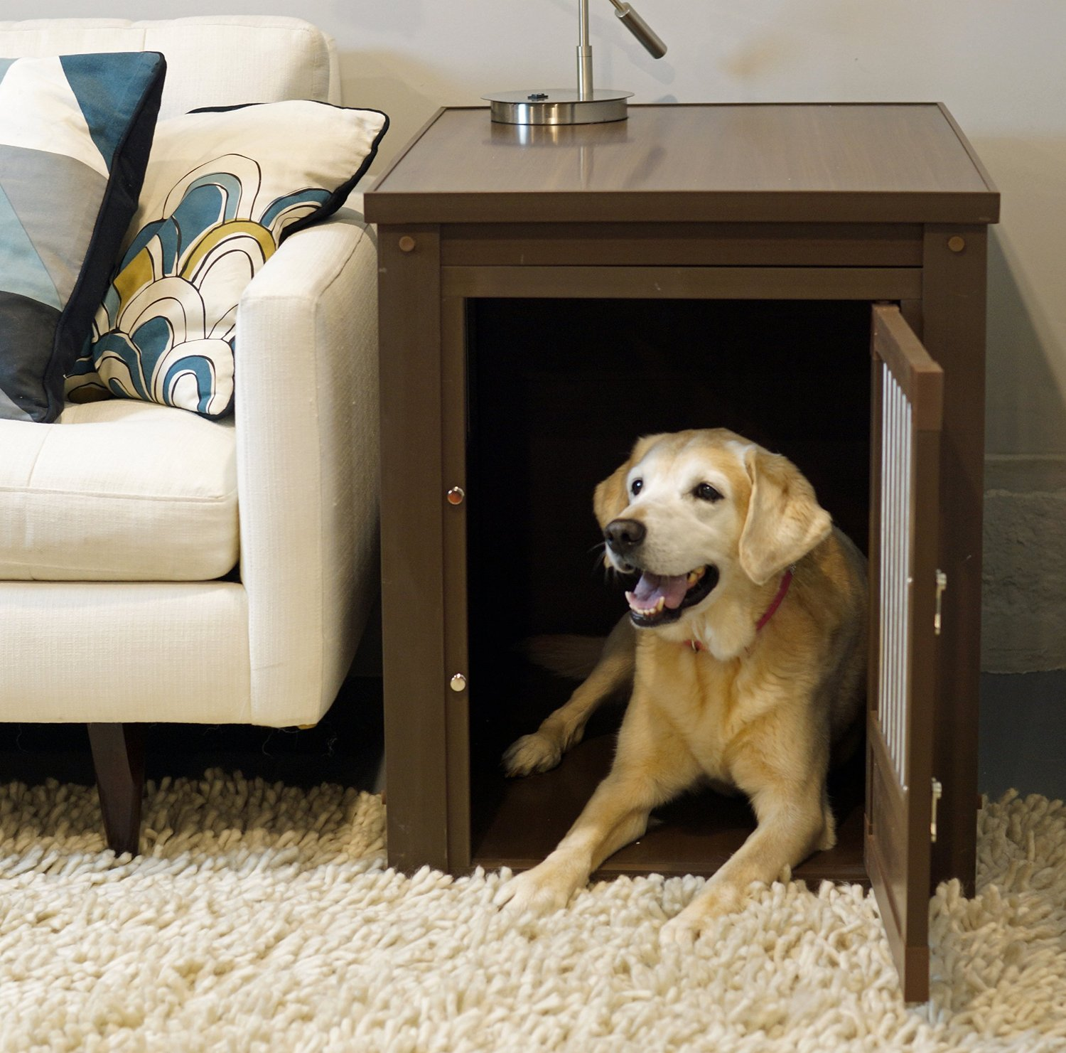 Indoor/Decorative Brown/Black/White Wooden Dog Crates That Look Like  Furniture For Large U0026 Extra Large Dogs