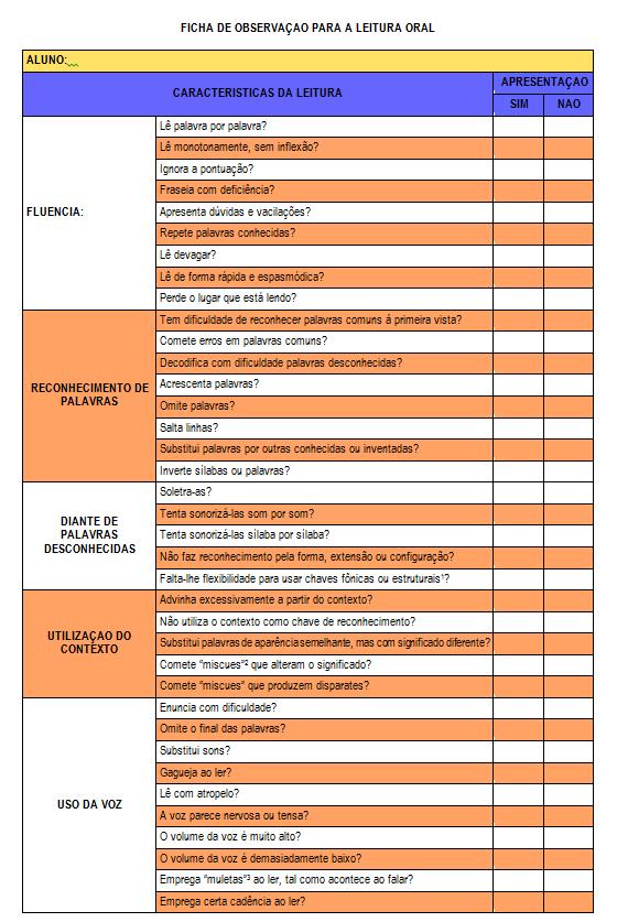 Ficha de observação para a leitura pronto para imprimir ou baixar em WORD