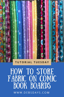 Organizing and Storing Fabrics by Wrapping them on Comic Book Backer Boards