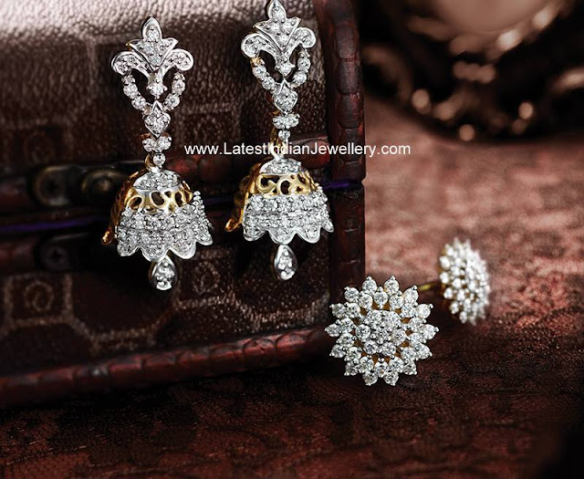 Cute Diamond Jhumkas Tanishq