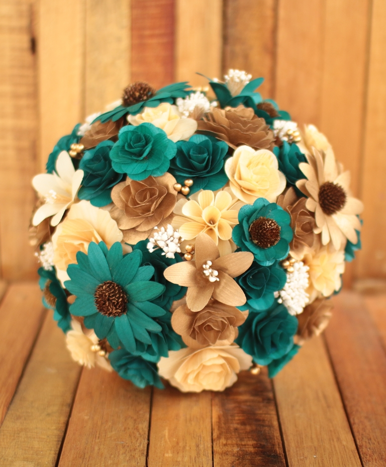 Copper Teal Wedding Bouquets Made of Wooden Flowers   Reduce  Reuse     Maid of Honor Bouquet