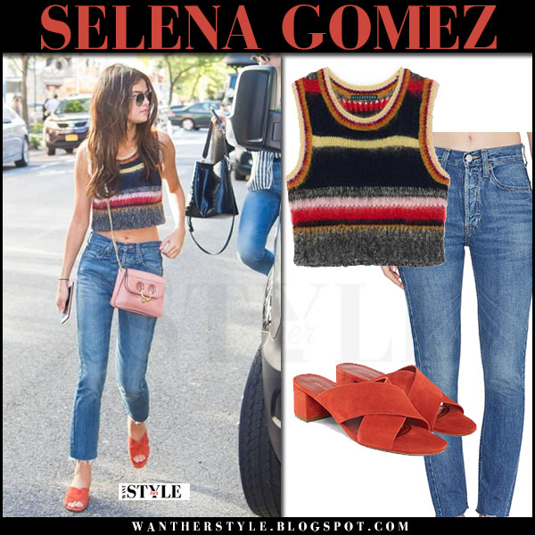 Selena Gomez in striped knit crop top alexachung and jeans what she wore june 3 2017 streetstyle
