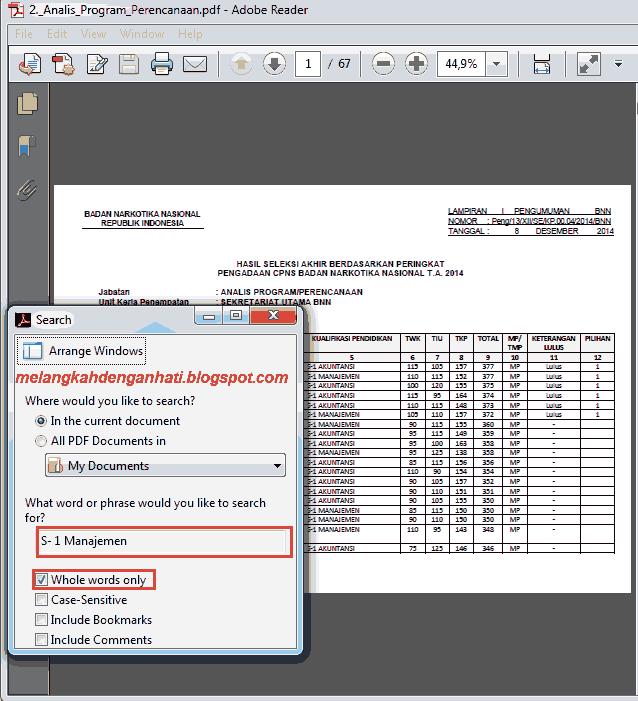 Menggunakan fasilitas search PDF