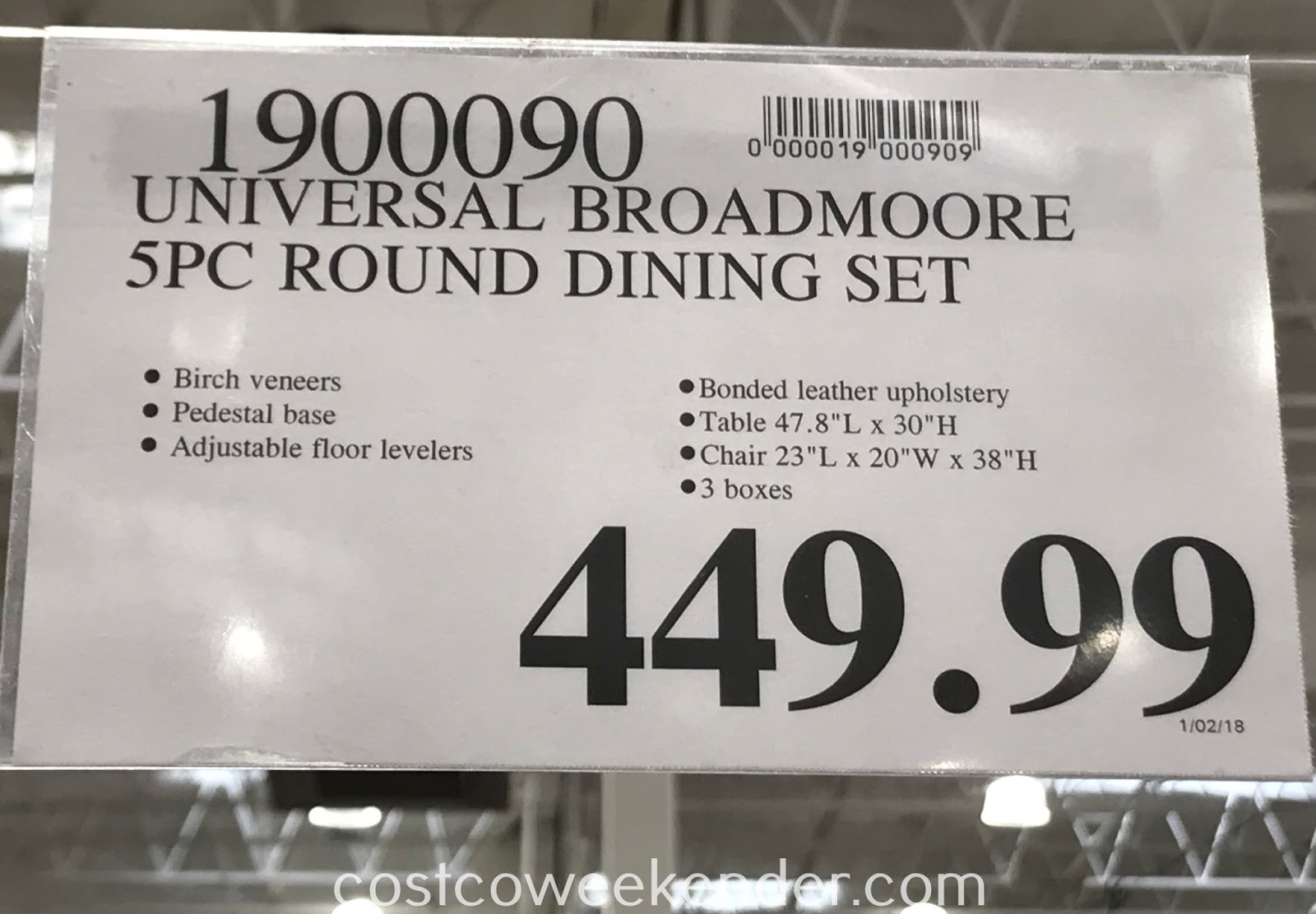 Deal for the Universal Broadmoore 5-piece Round Dining Set at Costco