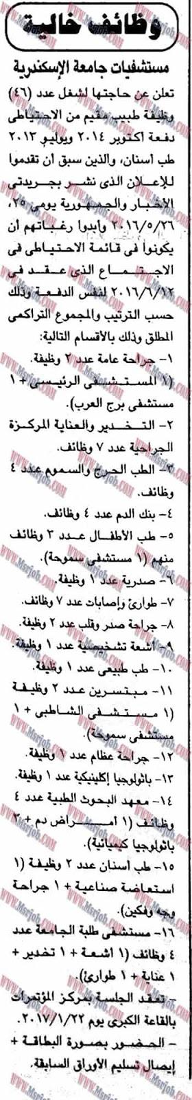 وظائف مستشفيات جامعة الاسكندرية منشور بالجمهورية 8 / 1 / 2017