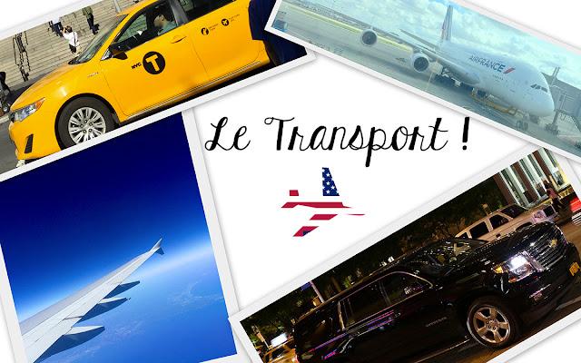 Le transport lors d'un voyage à New York, taxi, avion, voiture privée