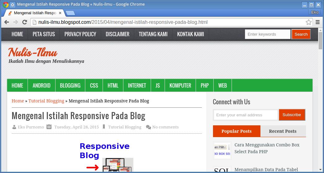 Tampilan blog saat layar lebar