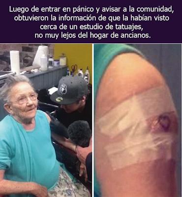 Se fugó del geriátrico para ir a hacerse un tatuaje