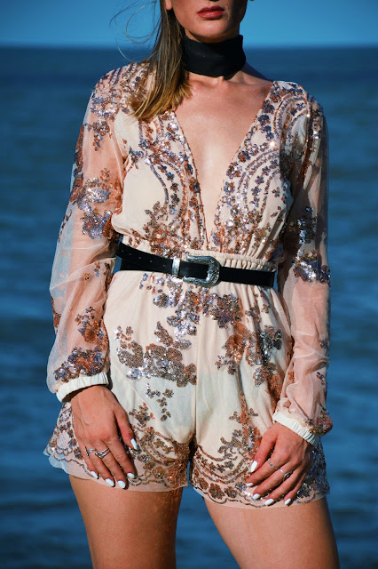 sequin embellished playsuit with black western boho belt