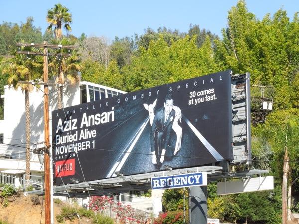 Aziz Ansari Buried Alive special billboard
