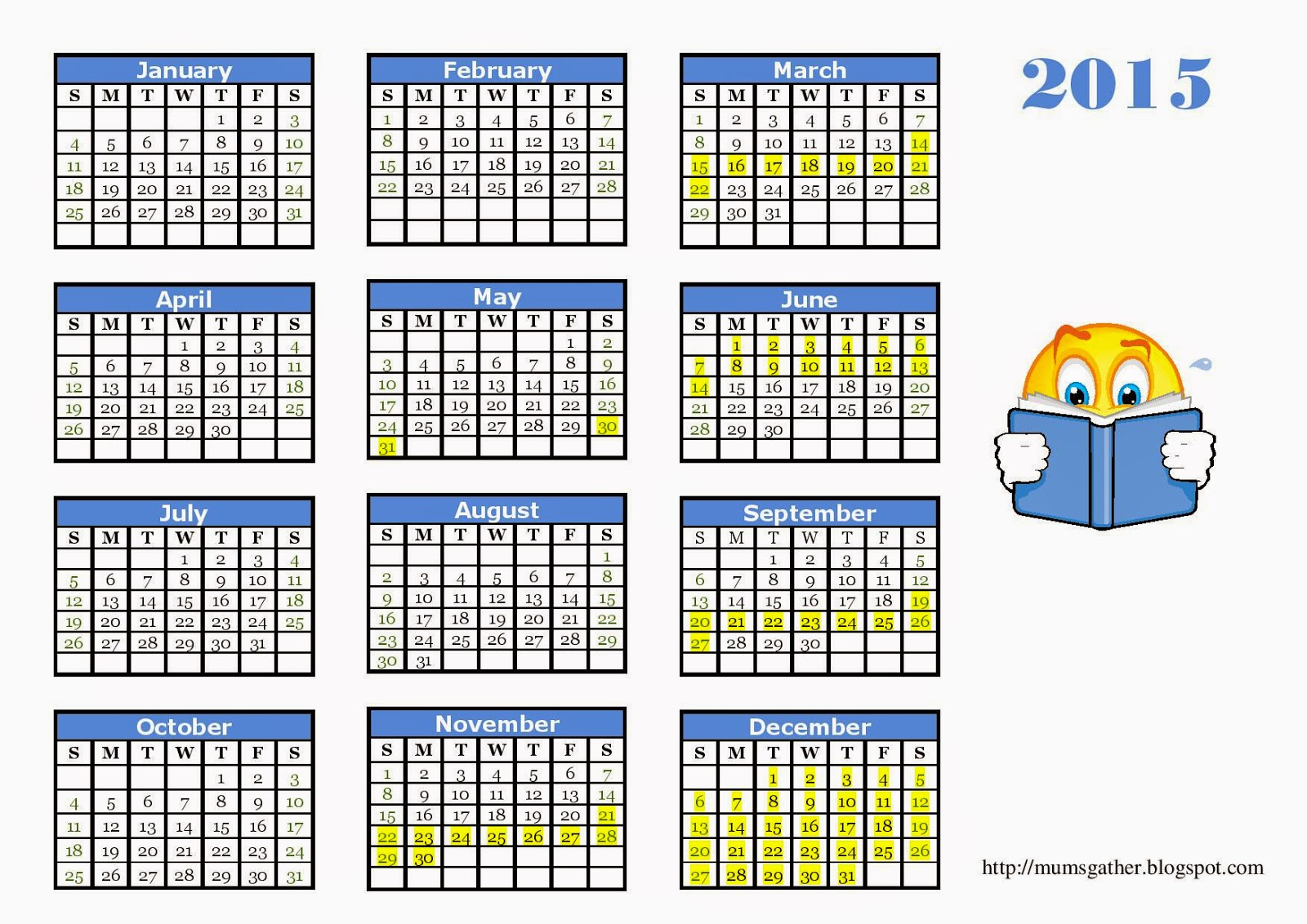 2015 Calendar For Kids With Malaysia School Holidays - Blue For Boys