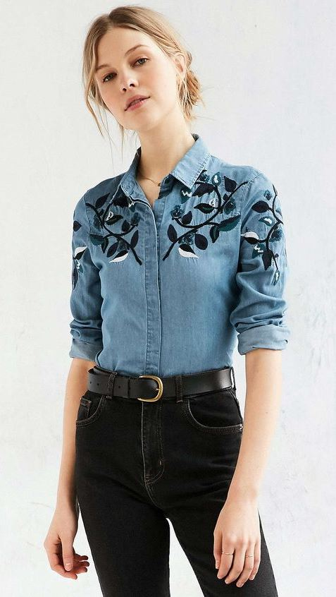 cute outfit idea : embroidered shirt + black jeans