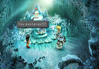 Moogle in ice cave yelling you bastards
