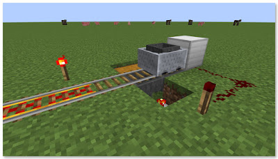 Minecraft トロッコアイテム輸送 簡単な荷降ろし駅 荷降ろし中