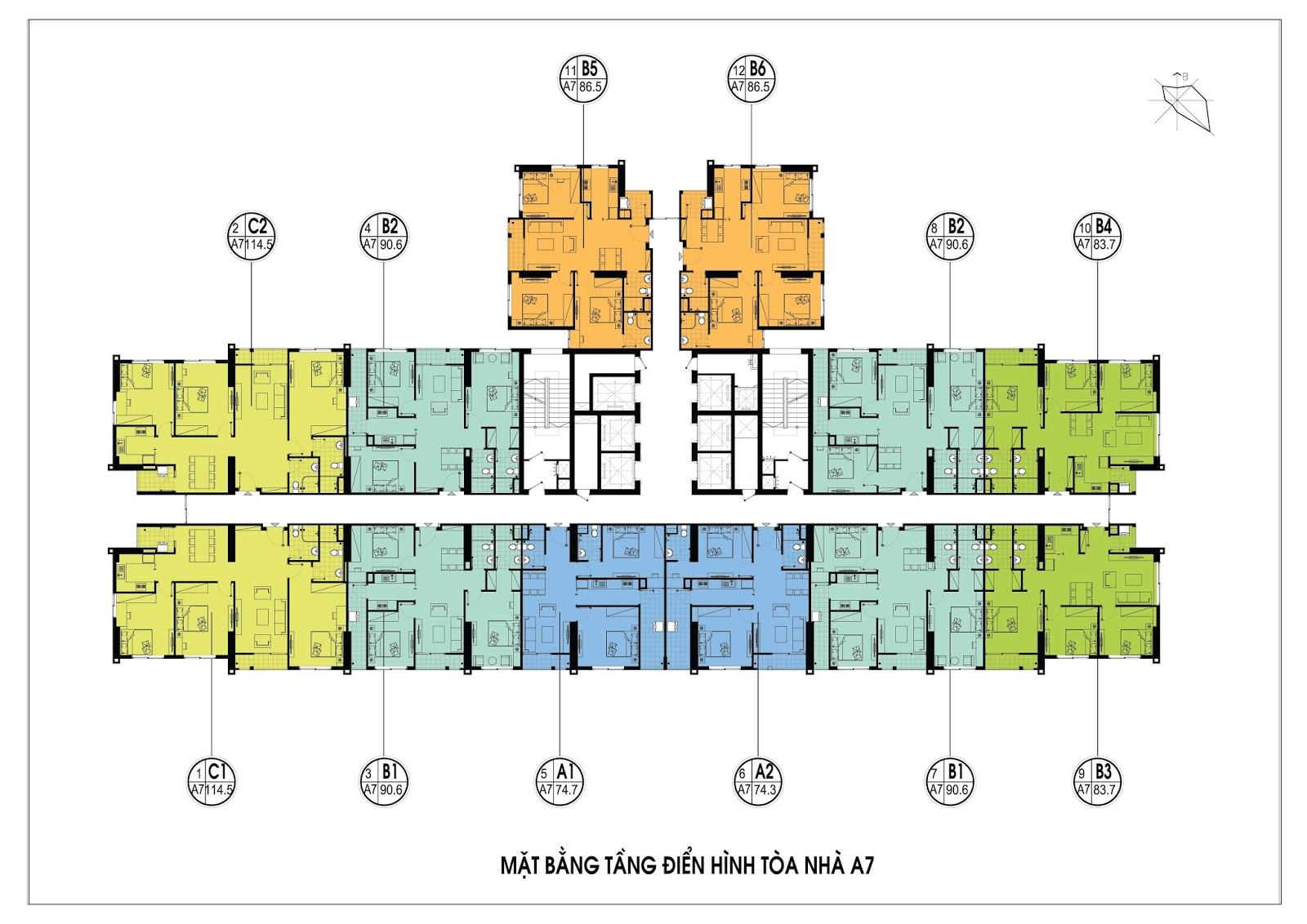 Thiết kế mặt bằng điển hình dự án chung cư A7 dự án An Bình City