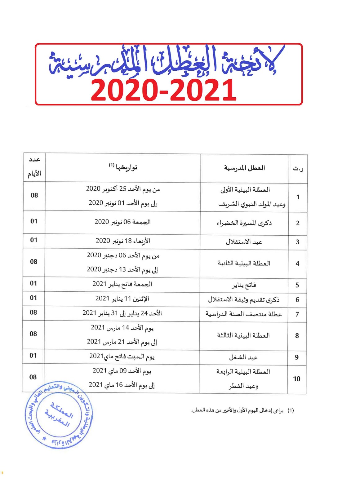 la2ihat 3otal madrassi 2020 2021