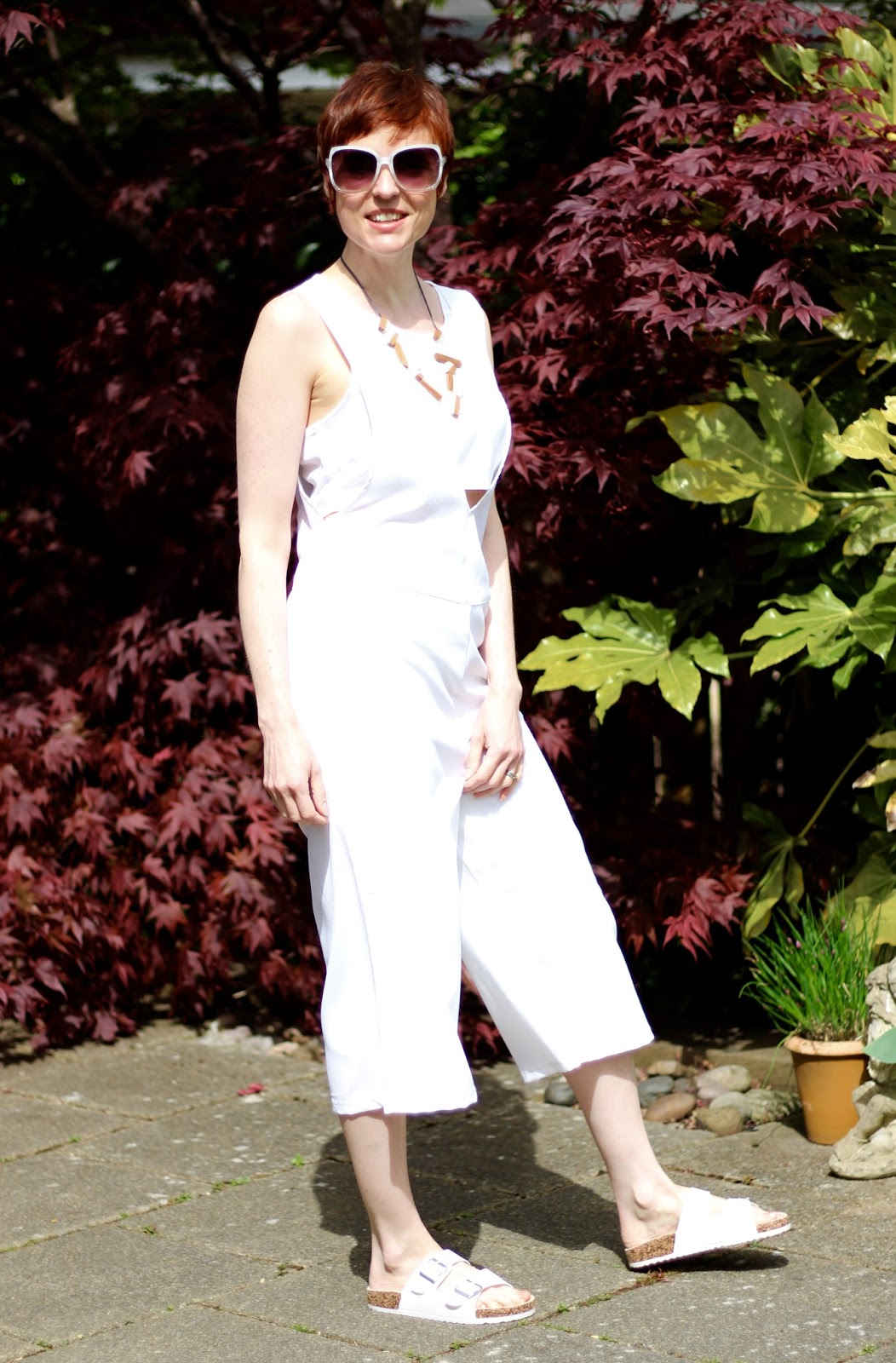 How to Wear a White Peek-a-Boo Culotte Jumpsuit, Over 40 | Casual with Denim