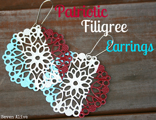 Patriotic Filigree Earrings