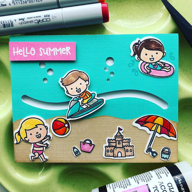 Sunny Studio Stamps: Beach Babies Customer Card Share by Ashley Hughes