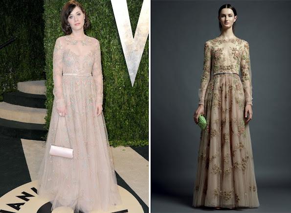 Zooey Deschanel wearrings Valentino Dress - Vanity Fair Oscar Party