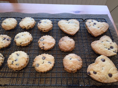 Valentine's Choc Chip Shortbread Biscuits on cooling rack