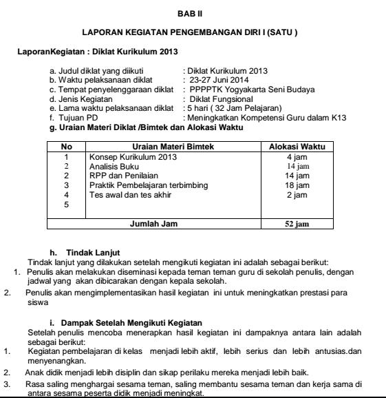 Contoh Laporan Kegiatan Bimtek Kurikulum 2013 Kumpulan Contoh Laporan