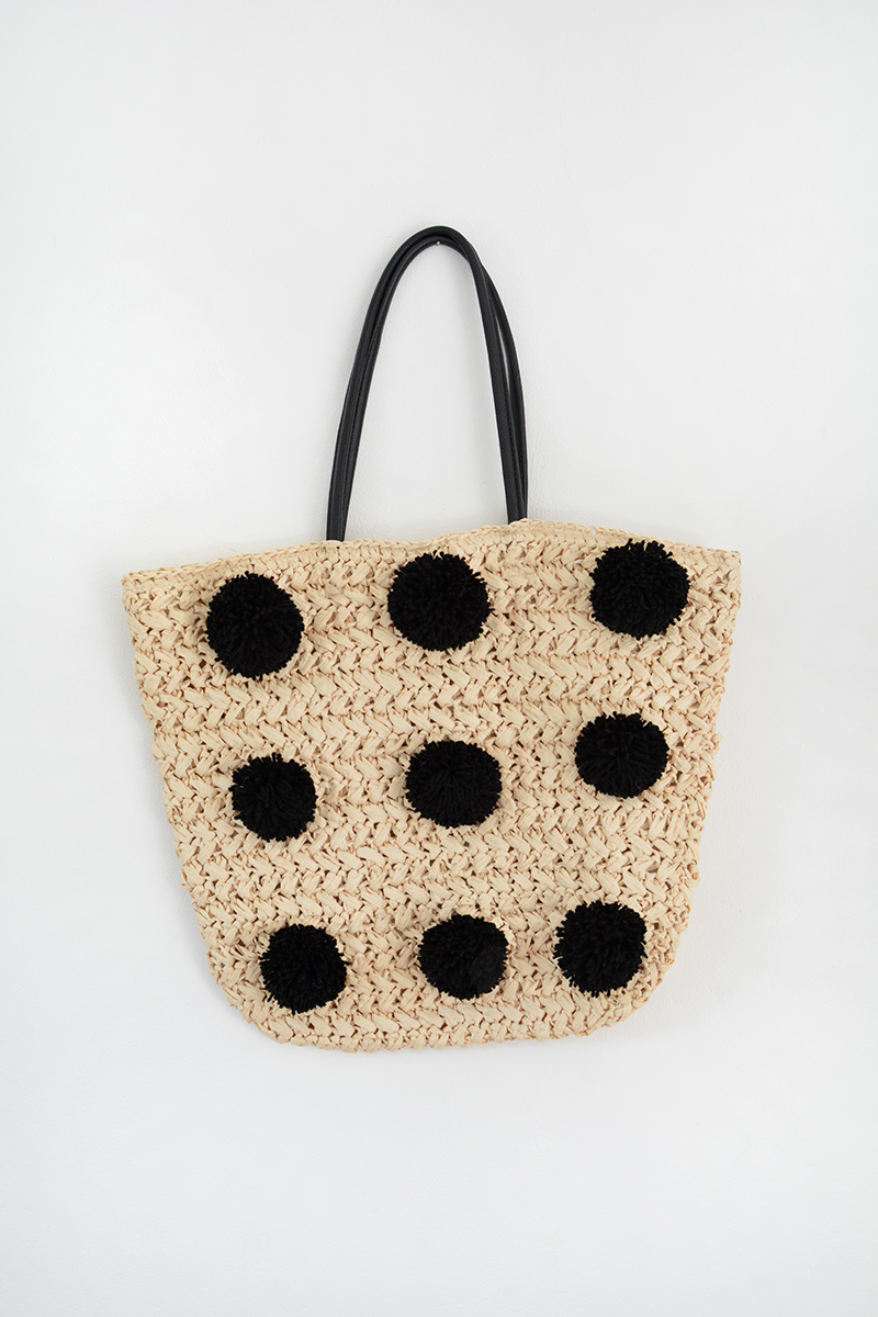1594b13744 minimal pom pom beach bag DIY