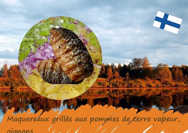 Maquereaux grillés aux pommes de terre oignons tomates, sans gluten, cuisine nordique