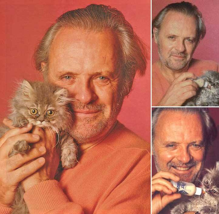 Anthony Hopkins with cat