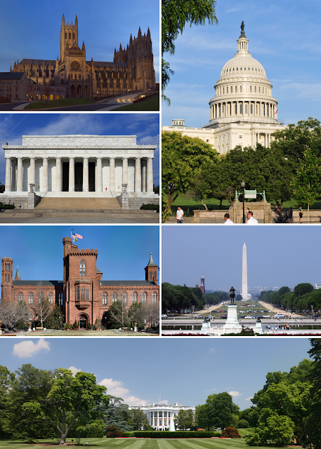 Clockwise from top right United States Capitol, Washington Monument, the White House, Smithsonian Institution Building, Lincoln Memorial and Washington National Cathedral