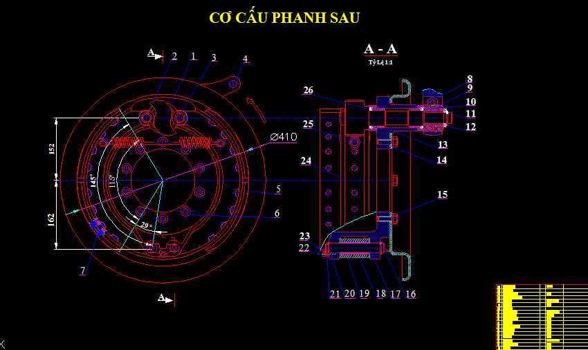 Bản vẽ hệ thống phanh xe huyndai hd 720