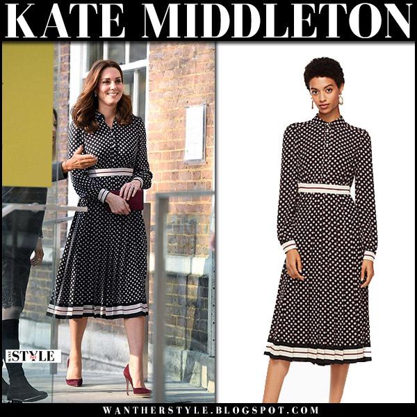 Kate Middleton in printed pleated midi shirt dress kate spade royal family fashion november 28