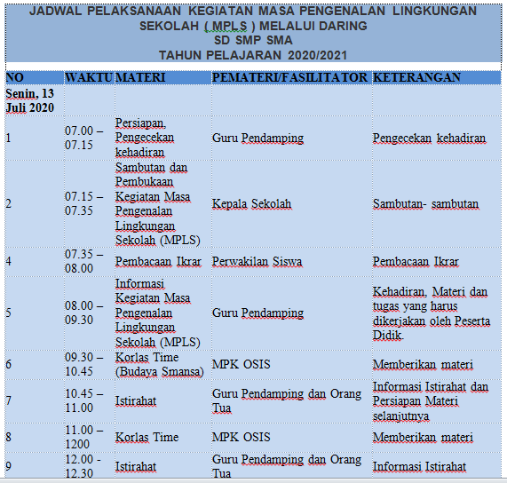 gambar contoh jadwal MPLS Daring SD SMP SMA