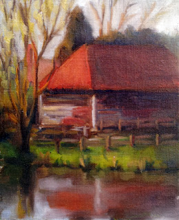 Oil painting of an old shed with a red roof, viewed across the reflective water of a dam.