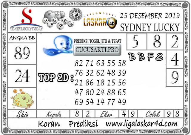 Prediksi Sydney Lucky Today LASKAR4D 25 DESEMBER 2019