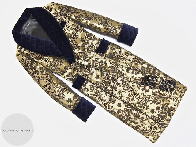 Men's gold blue paisley silk brocade robe luxury dressing gown vintage quilted velvet robes gentleman's housecoat long warm