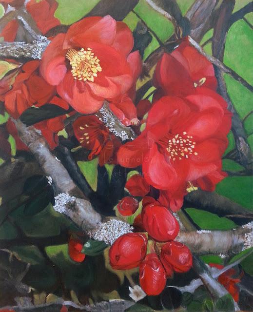 Ateliers LT 37 cours dessin et peinture - Bernadette Co - Composition Florale - acrylique sur toile       amboise          st martin le beau                montlouis sur loire                         la ville aux dames               vouvray            fondettes