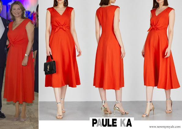 Princess Stephanie wore PAULE KA Coral bow-embellished midi dress