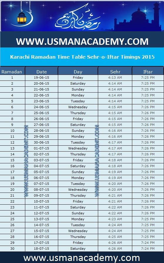 Ramadan 2017 : Timings Calendar Schedule Ramazan Sehar o Iftar ...